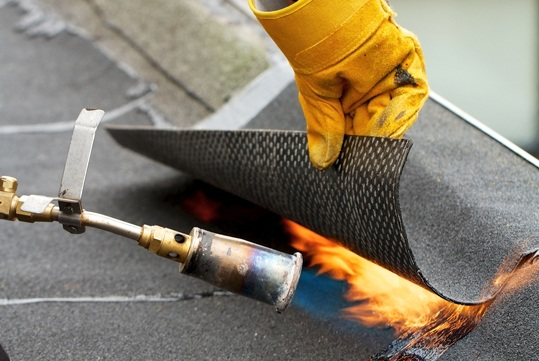 Roof Repair with Blow Torch